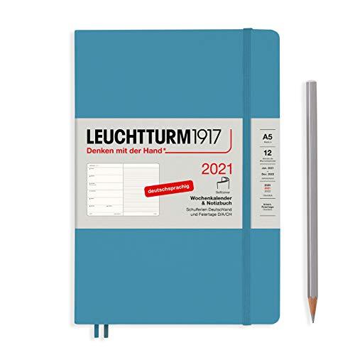 LEUCHTTURM1917 Wochenkalender & Notizbuch 2021 Softcover Medium (A5), 12 Monate, Nordic Blue, Deutsch