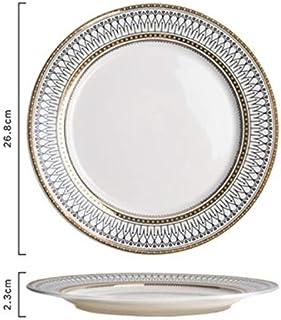 HFLK Plato de cerámica Plato de Comida Occidental Plato de Carne Plato de Restaurante Occidental Plato de Ensalada Mesa de colocación (26,8 * 2,3 cm): Amazon.es: Hogar