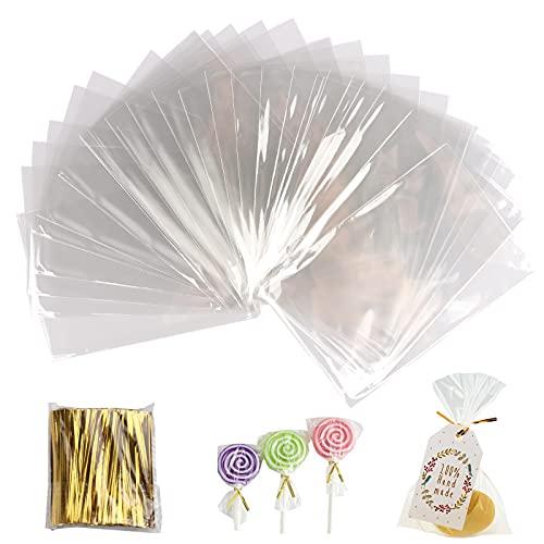 Gxhong 400 Piezas Bolsas Transparentes, Bolsas de Celofán Bolsas OPP Bolsas Hermeticas Bolsitas para Chuches Sello de Cinta Dorada,para Dulces,Joyas,Galletas,Bombones,Boda Fiesta (8x11.5CM)