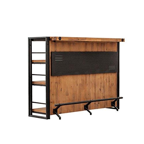 Barra de bar de estilo industrial de metal y madera de acacia maciza, acabados cuidados - Colecci�n Workshop