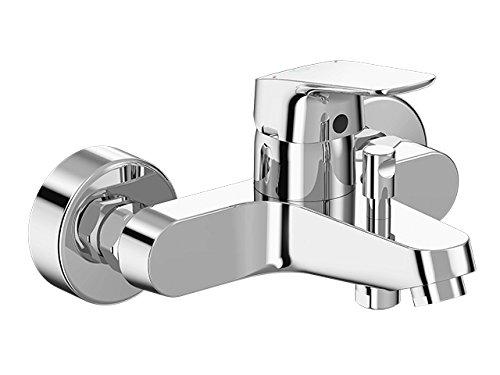 Armatur / Badearmatur CERAFLEX   Einhebel- Badearmatur zur Aufputz Montage mit S-Anschlüssen und Hebel aus Metall   Chrom, Click Kartusche, EN 817, AP, DN15, Ausladung 118 - 127mm