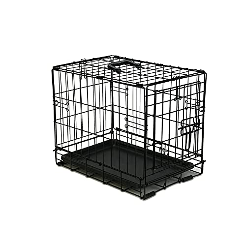 PETSWORLD Single Door Dog Crate, Heavy Duty Folding Metal Dog or Pet Crate Kennel, Size: 24 inch w/ Divider
