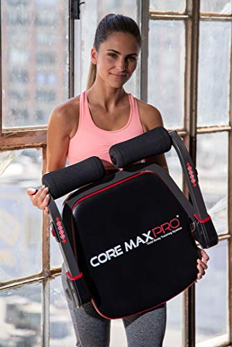 Core Max PRO with Resistance Bands Abs and Total Body Smart 8 min Workout & Cardio Machine, Red/Black