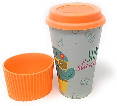 Bambus Trinkbecher To Go ♻ BambusFaser Becher mit Deckel aus Silikon und Silikonmanschette - Umweltverträglicher Reisebecher - Kaffee to Go - Spülmaschinenfest - Öko,Bio, BPA-Frei - Bamboo eCoffee Cup