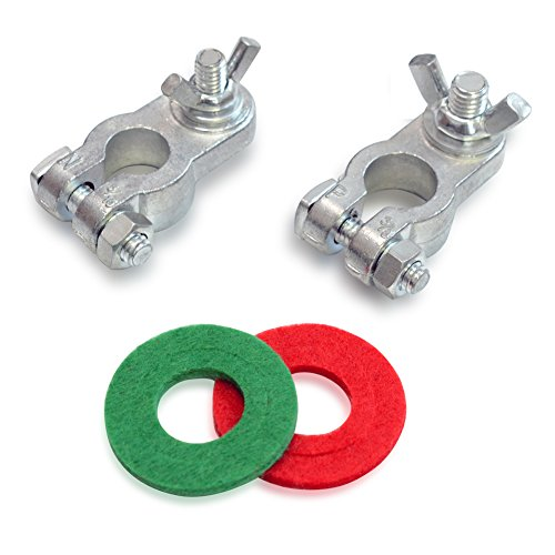 Handster Marine Battery Terminal Wing Nuts Style Zinc Alloy Terminal Kit with Anti-corrosion Washers