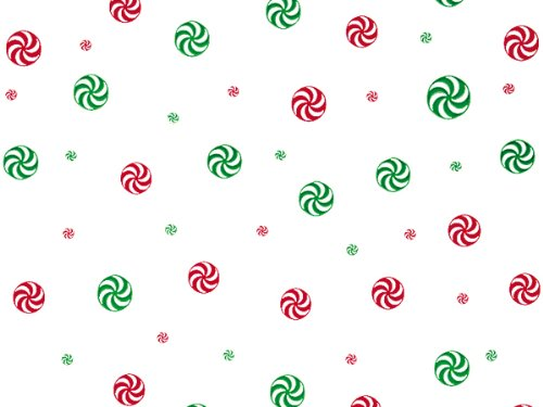 """Pack Of 1, 30"""" X 100' 1.0 Mil Peppermint Red & Green Christmas Print Cello Rolls Made In USA"""