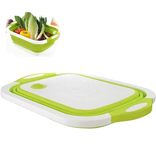 WANGT Tazón para Lavar Platos con Tabla De Cortar Plegable,Fregadero De Cesta De Drenaje De Lavado De Plástico Multifuncional para Cocina,Green
