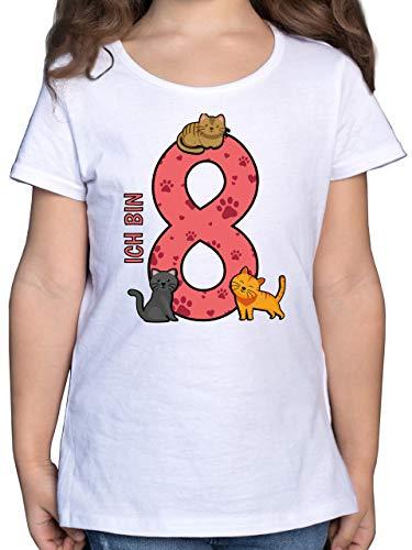 Geburtstag Kind - 8. Geburtstag Katzen - 140 (9/11 Jahre) - Weiß - Geburtstag 9 - F131K - Mädchen Kinder T-Shirt