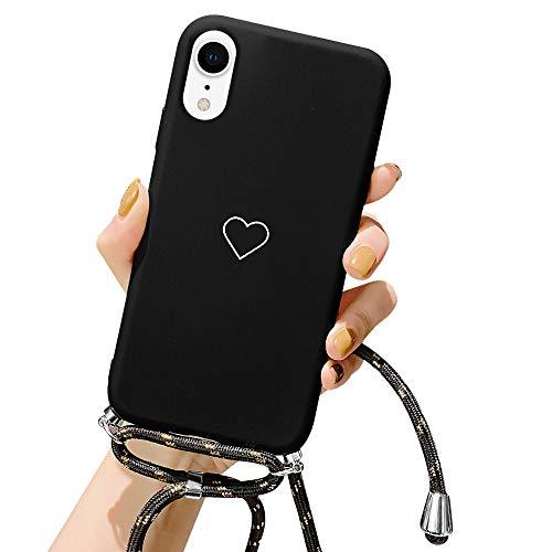 ROSEHUI Handykette Hülle für iPhone X,iPhone XS Herz Love Design Silikon Bumper Kordel zum Umhängen Halskette Handyhülle Ultra Dünne Schutzhülle mit Band,Schwarz