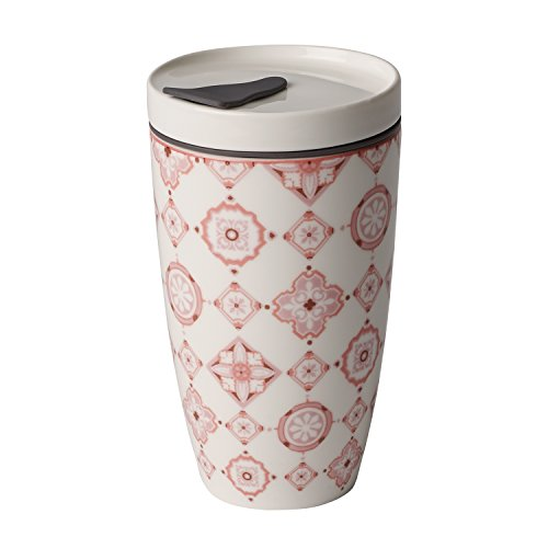 like. by Villeroy & Boch To Go Rosé Coffee-to-Go-Becher, 2-teilig, 350 ml, Premium Porzellan/Silikon, Weiß/Pink