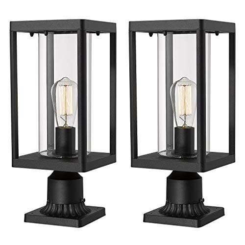 Beionxii Outdoor Post Lantern | Set of 2 Modern Exterior Pillar Lamp with 3-Inch Pier Mount Base, Sand Textured Black Cast Aluminum with Clear Cylinder Glass - A291P-2PK