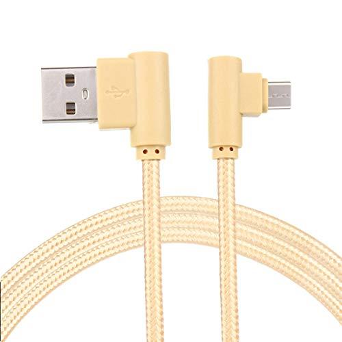 LoongGate super Langer rechter Winkel Micro-USB-Kabel-für Sofa, Bett, Outdoor-Einsatz-Nylon geflochtene 90 Grad USB A bis Micro B-Lade-und datensync-Kabel -3m-Gold