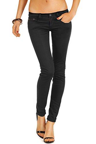 bestyledberlin Damen Jeans, Basic SkinnyJeans, Schmale Stretch Jeanshosen j71e 36/S schwarz