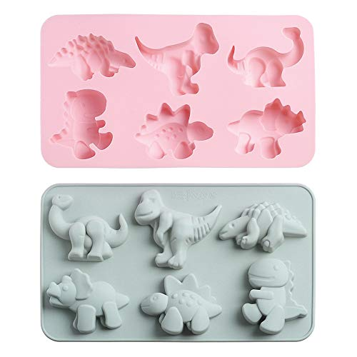 2Pcs Cute Dinosaur Silicone Cake Molds Kid's Cartoon Dino Chocolate