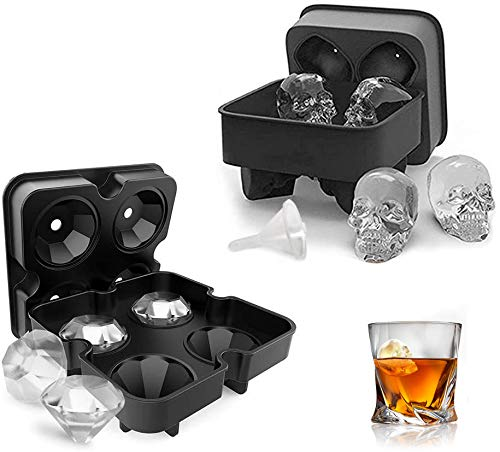 AUSINCERE Large Ice Cube Trays, 2 Pack Silicone Ice Cube Mold, 3D Skull, Diamond-Shaped Freezer Molds Easy Release for Whiskey, Cocktail, Coke, BPA Free, Black