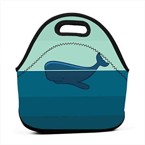 Tragbare Tragetasche Tote Container Bag, Big Blue Whale Die Hälfte davon schwimmt auf der Oberseite des Ocean Sea Life Image, modische Handtaschen-Tasche