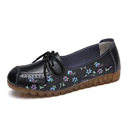 Gtagain Informal Mocasines Mocasín Mujeres - Cordones Plataforma Conducir Zapatos Náuticos Señoras Cuero Pisos Trabajo Zapatos Cómodo Oficina Caminar Oxfords