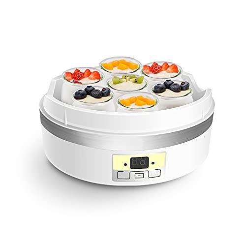 Maker de yogur, máquina de enzimas de vino de arroz, máquina de fabricantes de yogurt eléctrico con 7 frascos de vidrio, fácil uso, temporizador ajustable, pantalla LED, para hacer postres saludables