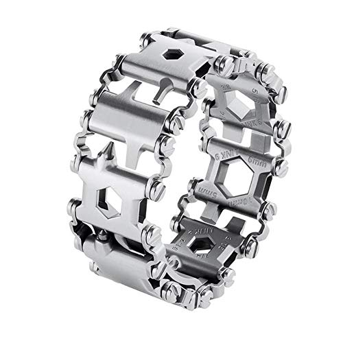 NLYWB Wearable Multitool, Tread Bracelet, Made Stainless Steel, Can Be Split/combined Freely, Total 29 Functions, Suitable for Outdoor Activities, Etc,8.7 Inch