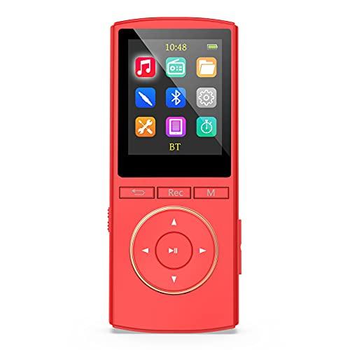 MP3 Player mit starkem Bluetooth, 32GB Kinder mp3-player mit FM Radio, HiFi Musik, AUX-Recorder, Shuffle, Time-Sleeper, Matt rote(Kopfhörer,USB-Kabel,AUX-Kabel im Lieferumfang Enthalten)