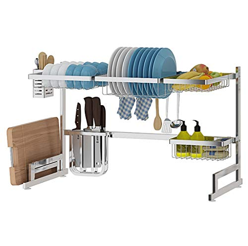 304 stainless steel Dish Drying Rack Over Sink, kitchen drain rack, multi-function rack, including bowl/plate/knife/fork/cutting board/sponge square rack/fruit and vegetable basket, silver