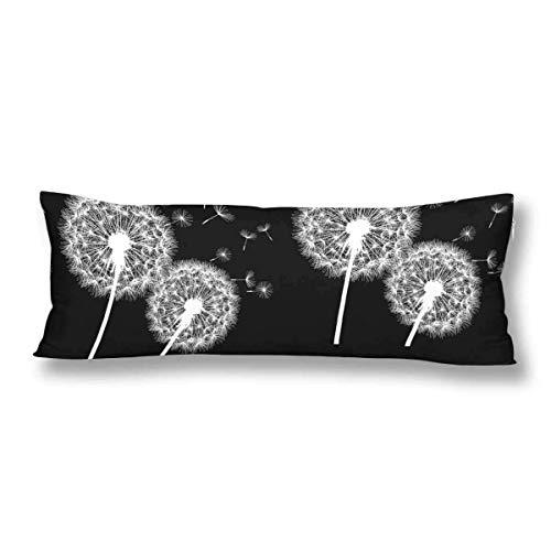 CiCiDi Seitenschläferkissen Kissen-Bezug 40x145 cm Schwarzes mit weißer Blume Löwenzahn Atmungsaktives Kissenhüllen mit Reißverschluss Baumwollen und Polyester