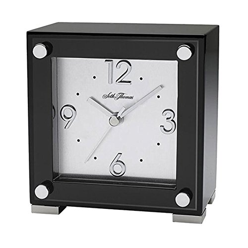 Seth Thomas TBK005050 Table Clock Black Piano Finish Square Home & Garden Improvement