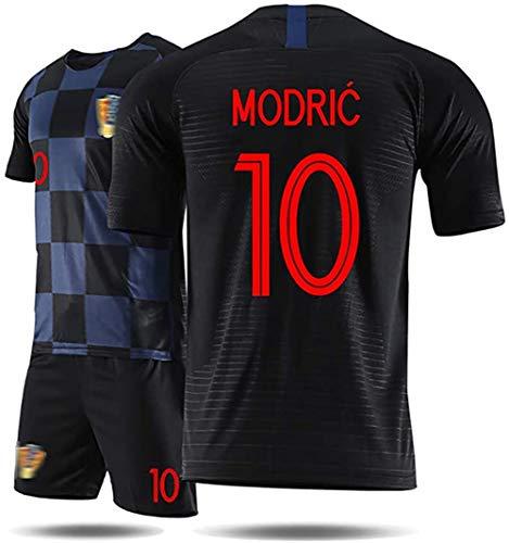 Kinderfußballtrikots WM 2018 Kroatien Modric Trikot, erwachsenes Mädchen Junge T-Shirt und Shorts Team Trainingsanzug-black10-S