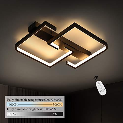 CBJKTX LED Deckenlampe dimmbar mit Fernbedienung 41cm 35W schwarze Wohnzimmerlampe Deckenleuchte aus Metall und Acryl Modern-Design für Schlafzimmer Küche Wohnzimmer Arbeitszimmer Flur Balkon