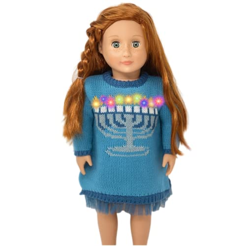MY GENIUS DOLLS Clothes and 18 inch Doll Accessories- Light Up Hanukkah Ugly Sweater Dress–fits American Girl Doll Clothes, Our Generation Doll Clothes, My Life As, ILY 4ever (Doll Not Included)