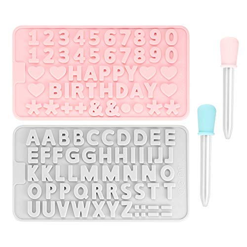 2 Pezzi Dtampi in Silicone, Lettere Numeri Stampini con Contagocce, Alfabeto Stampo Silicone per Cioccolato, Gesso, Torte, Biscotti, Vassoio per Decorare