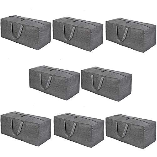 VENO - Bolsa de almacenamiento extra grande para mudanzas, asas de transporte y cremallera, compatible con carros de mano IKEA Frakta, bolsas de almacenamiento, alternativa a la caja de mudanza, hecha de material reciclado (gris)