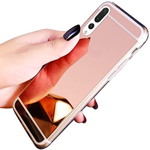 Jinghuash Coque Compatible avec Huawei Mate 20 Pro,Miroir Coque en Silicone Ultra-Mince Etui Housse de Protection Cristal Clair Soft Gel TPU Shockproof Bumper Case Mirror Effect Cover-Or rose