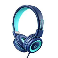 On-ear headphones has padded soft cushions and noise reduction. Adjustable headband to ensure a perfect fit, and a lightweight design for kids age 3 and up. Foldable design for a more compact storage. The cord is a 5 feet long nylon braided cable. De...