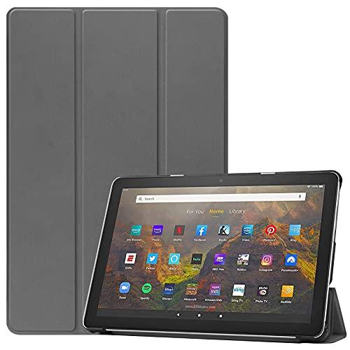 Funda triple con soporte para tablet Fire HD 10 y 10 Plus (11ª generación 2021) PU frontal y trasera de PC cubierta magnética protectora de cuerpo completo [apagado automático/despertar] (gris)