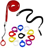 2 Anti-Lost Necklace Lanyard with 12 Pieces Anti-Lost Silicone Rubber Ring Pen Silicone Lanyard Holder, Pendant Holder Rubber Carrying Case for Pen, Outdoor Activities (Classic Style)