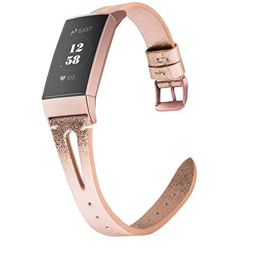 Wearlizer für Fitbit Charge 3 Armband Leder, Lederarmband Leder Armbänder Unisex Ersatzband für Fitbit Charge 3 - X Rose Gold