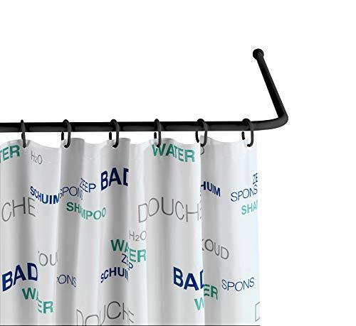 WENKO Barre d'angle universelle noir - Tringle pour rideau de douche , Aluminium, 2 x 2 cm, Noir