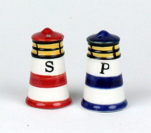 Buddel-Bini Maritime Leuchtturm Salz- und Pfefferstreuer Salzstreuer 2-teilig blau und rot 6 cm