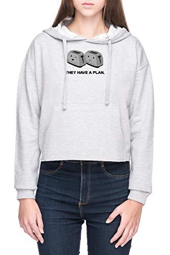 Vendax Toasters Donna Crop Felpa con Cappuccio Grigio Women's Crop Hoodie Sweatshirt Grey