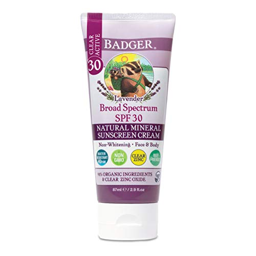 Badger - SPF 30 Lavender Clear Zinc Sunscreen Cream - Broad Spectrum Water Resistant Reef Safe Sunscreen, Natural Mineral Sunscreen with Organic Ingredients 2.9 fl oz