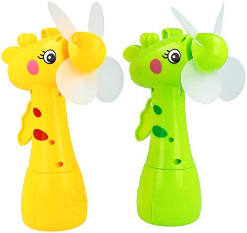 com-four® 2X Handventilator für Kinder mit Wassertank - Mini Kurbel-Sprüh-Ventilator mit Wasserspritze als Zerstäuber (02 Stück - Grün/Gelb)