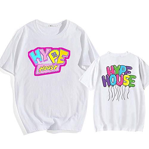 LYJNBB T-Shirts LA Maison Hype à Manches Courtes T-Shirt, Hauts Wear Couple Unisexe, Vidéo Fan Apparel,Blanc,XXXL