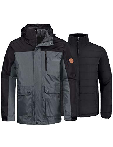 Wantdo Men's 3-in-1 Skiing Jacket Interchange Snowboard Jacket Outdoor Raincoat Outwear Grey 2XL