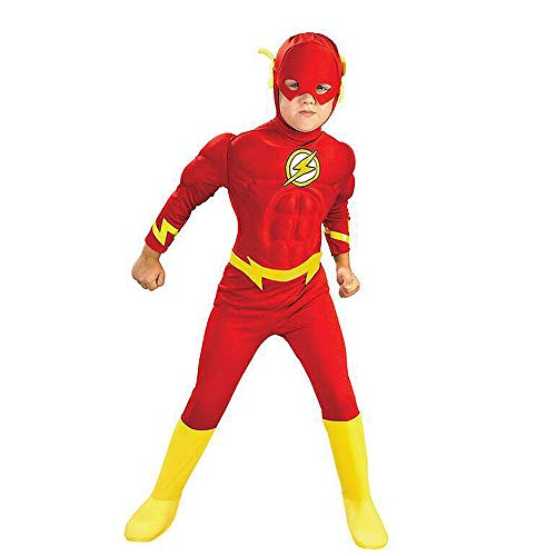 WEIR Flash Muscle Costume Cosplay Bambini Supereroe Anime Tuta Halloween Fancy Dress Party Character Tuta Set Puntelli,Flash-110~120cm