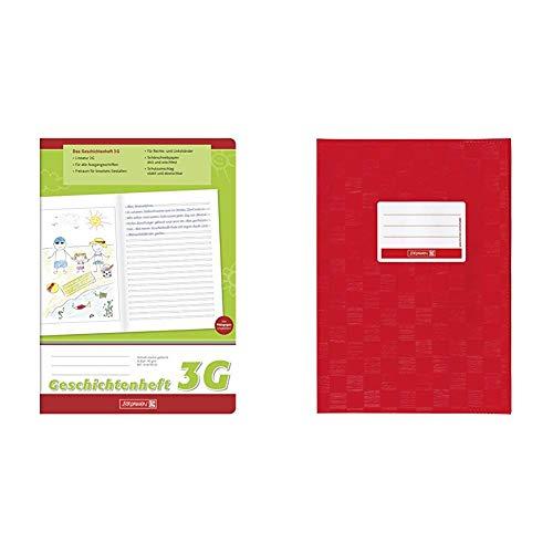 Brunnen 104499103 Geschichtenheft Klasse 3 (A4, 16 Blatt, Lineatur 3G) & 104052424 Hefthülle/Heftumschlag (A4, Folie, mit Namensschild) rot
