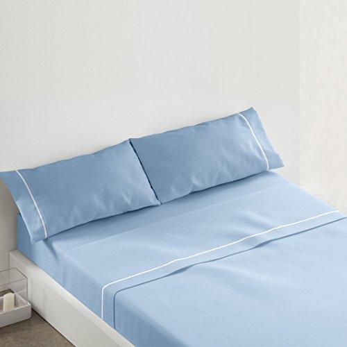 Burrito Blanco Juego de Sábanas 685 Lisas Algodón 100% para Cama de Matrimonio de 150x190 cm hasta 150x200 cm, Azul Celeste