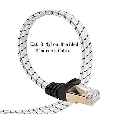 Cat 8 Ethernet Cable, DanYee 33FT Nylon Braided Flat Network Cable High Speed Cat8 Patch LAN Cable (White 33FT)