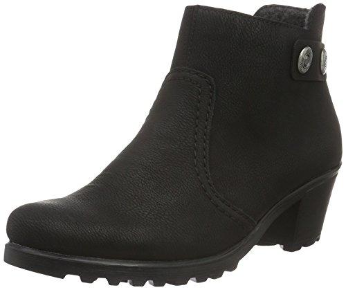 Rieker Damen Stiefeletten Y8062, Frauen Ankle Boots, halbstiefel Bootie knöchelhoch reißverschluss Damen Frauen weibliche,schwarz,42 EU / 8 UK