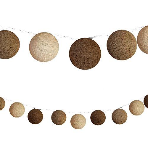 CHICNET LED Lichterketten bunt 20 Baumwollkugeln (6 cm) CE 3,5m Deko innen Cotton Ball | Baby Nachtlicht Schlummerlicht | Dekoration Hochzeit Geburtstag Party Weihnachten Lichterkette | braun